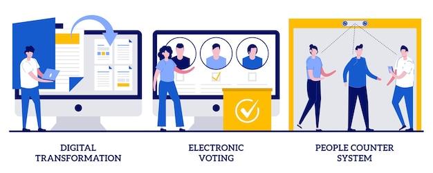 Transformação digital, votação eletrônica, conceito de sistema de contagem de pessoas com pessoas minúsculas. conjunto de ilustração vetorial de digitalização. soluções de fluxo de trabalho sem papel, votação eletrônica, metáfora de detecção de pessoas.