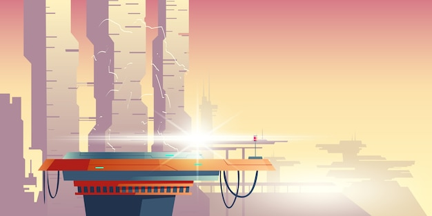 Transformador na plataforma na cidade futurista