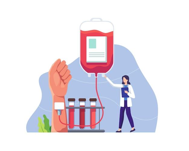 Transfusão de sangue vital da mão humana para o recipiente de plástico médico no laboratório de doação de sangue