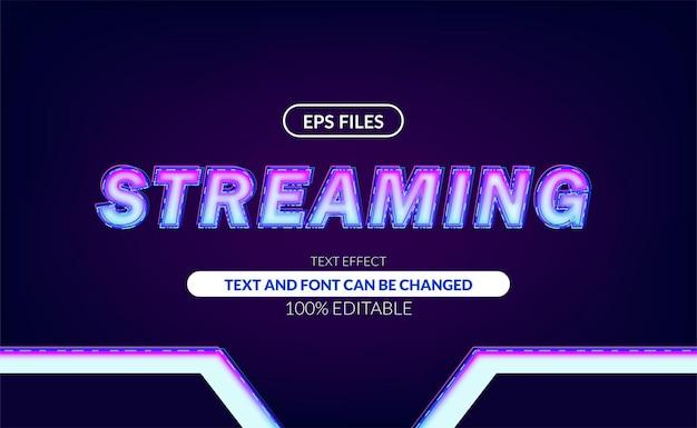 Transmissão ao vivo com efeito de texto editável de luz de néon brilhante.