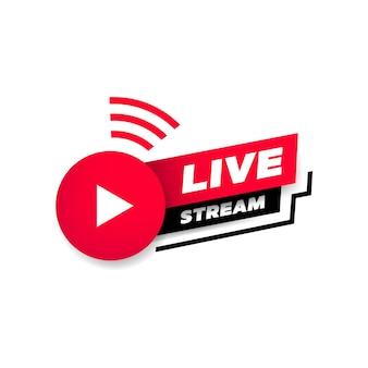 Transmissão ao vivo com o símbolo do ícone do botão de reprodução.