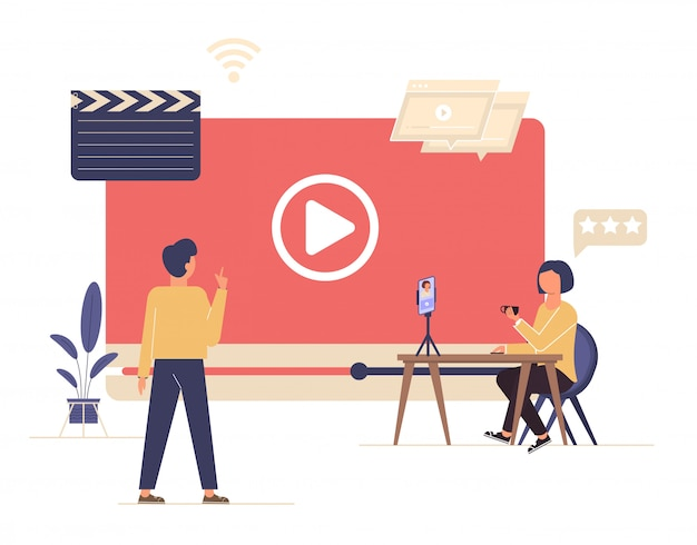 Transmissão ao vivo, conceito de transmissão. blog de vídeo.