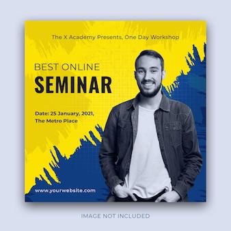 Transmissão ao vivo de publicidade do seminário em tamanho quadrado para postagem no instagram