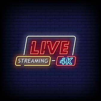 Transmissão ao vivo de texto em estilo de sinais de néon 4k