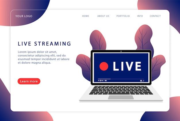 Transmissão ao vivo. página da web. página de destino moderna. estilo simples.