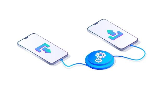 Transmissão de dados transmissão de informações baixando e recebendo dados atualizando o telefone