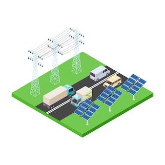 Transmissão de energia ecológica e ilustração vetorial isométrica de rodovia