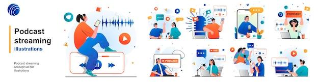 Transmissão de podcast conjunto isolado transmissão online ou gravação de entrevistas de cenas em design plano