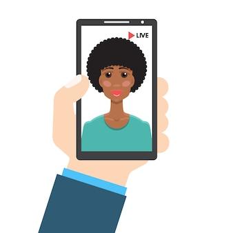 Transmissão de vídeo ao vivo. smartphone na mão. conceito de mídia social. ilustração em um estilo simples.