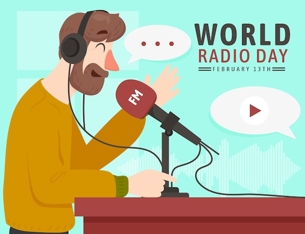 Transmissão do dia mundial de rádio do flat design