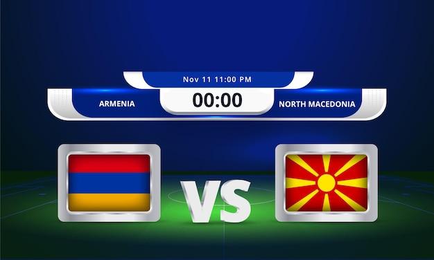 Transmissão do placar da partida da copa do mundo da fifa de 2022 entre a armênia e a macedônia do norte
