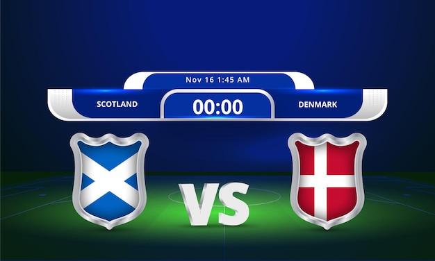 Transmissão do placar da partida da copa do mundo de 2022 da copa do mundo da fifa na escócia contra a dinamarca