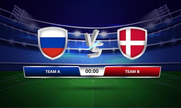 Transmissão do placar da partida de futebol da copa do euro contra a dinamarca