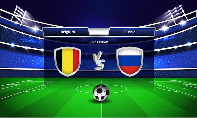 Transmissão do placar da partida de futebol da copa do euro entre bélgica e rússia