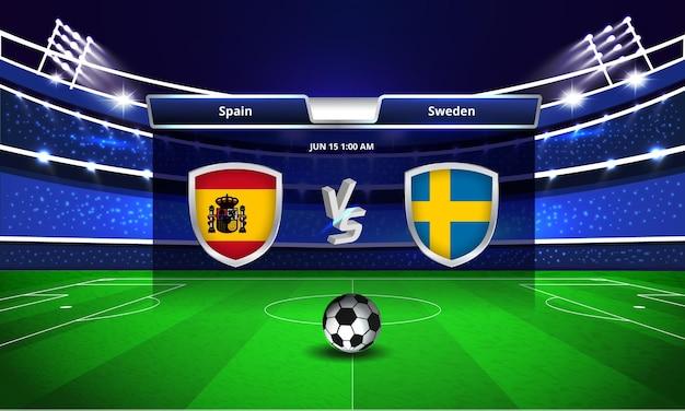 Transmissão do placar da partida de futebol da copa do euro entre espanha e suécia Vetor Premium