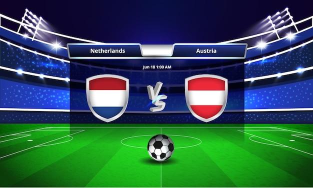 Transmissão do placar da partida de futebol da copa do euro entre holanda e áustria
