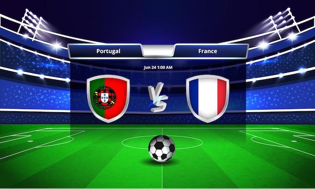 Transmissão do placar da partida de futebol da copa do euro entre portugal e frança