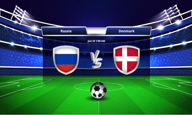 Transmissão do placar da partida de futebol da copa do euro entre rússia e dinamarca