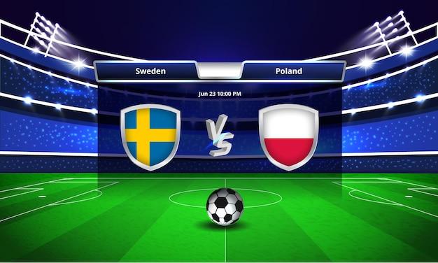 Transmissão do placar da partida de futebol da copa do euro entre suécia e polônia