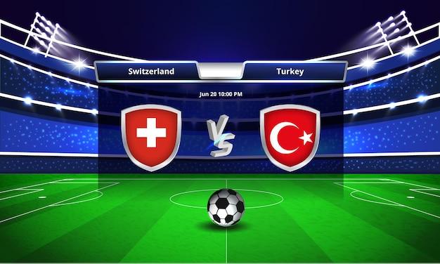 Transmissão do placar da partida de futebol da copa do euro entre suíça e turquia