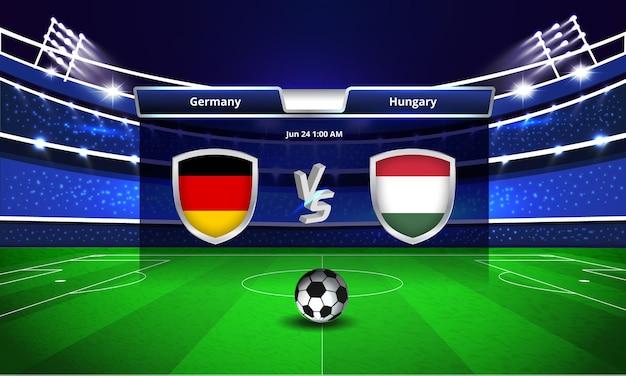 Transmissão do placar da partida de futebol da copa do euro na alemanha x hungria