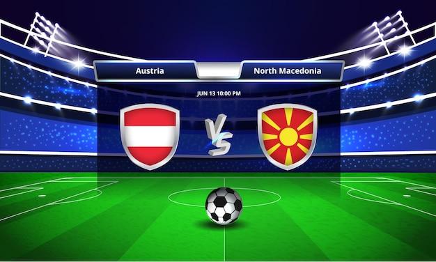 Transmissão do placar da partida de futebol da copa do euro na áustria x macedônia do norte