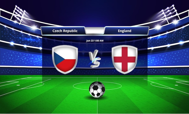 Transmissão do placar da partida de futebol da copa do euro x inglaterra.