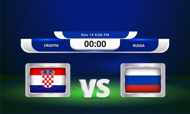 Transmissão do placar da partida de futebol da copa do mundo de 2022 da fifa contra a rússia