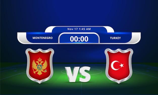 Transmissão do placar da partida de futebol da copa do mundo de 2022 da fifa contra a turquia