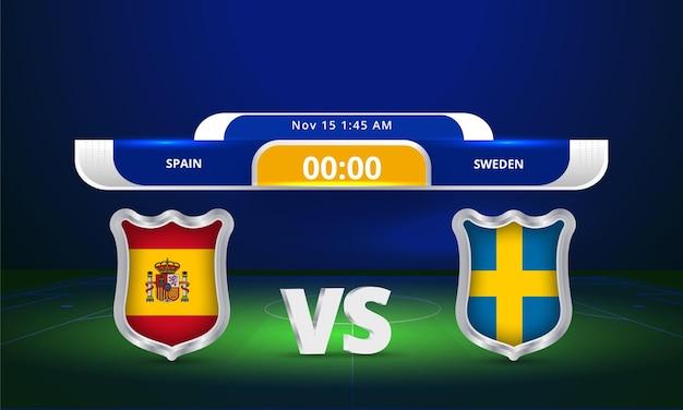 Transmissão do placar da partida de futebol da copa do mundo de 2022 da fifa entre espanha e suécia