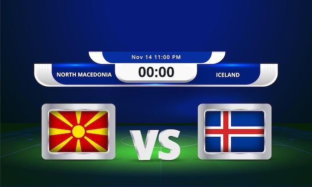 Transmissão do placar da partida de futebol da copa do mundo de 2022 da macedônia do norte x islândia