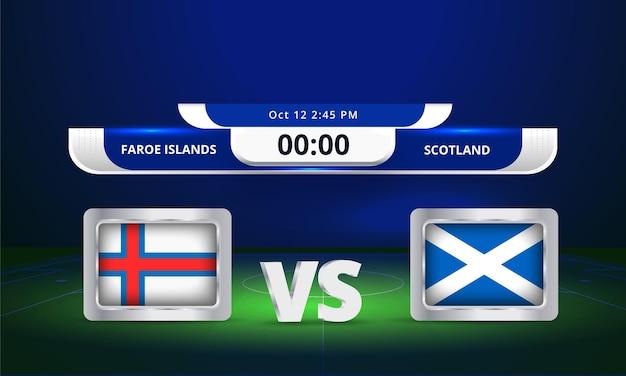 Transmissão do placar da partida de futebol da copa do mundo de 2022 das ilhas faroé contra a escócia
