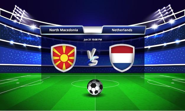 Transmissão do placar da partida de futebol da eurocopa da macedônia do norte x holanda