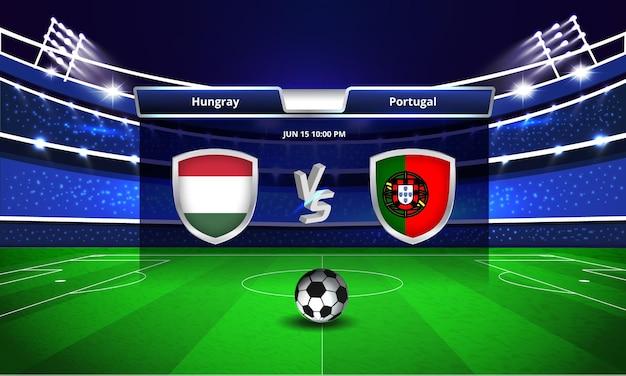 Transmissão do placar da partida de futebol da eurocopa hungria x portugal