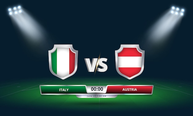 Transmissão do placar da partida de futebol da itália x áustria das oitavas de final da copa do euro