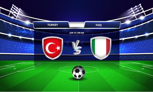 Transmissão do placar da partida de futebol da taça do euro entre turquia e itália