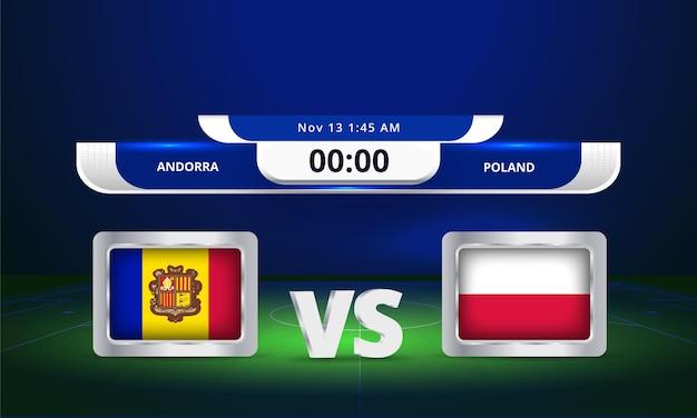 Transmissão do placar da partida de futebol de andorra vs polônia da copa do mundo da fifa de 2022