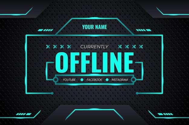 Transmissão offline de fundo de jogo futurista com gradiente e iluminação verdes