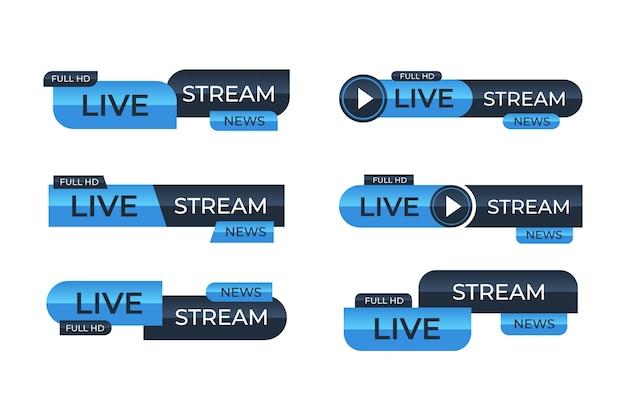 Transmissões de notícias ao vivo em azul e preto