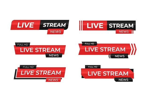 Transmissões de notícias ao vivo em vermelho e preto