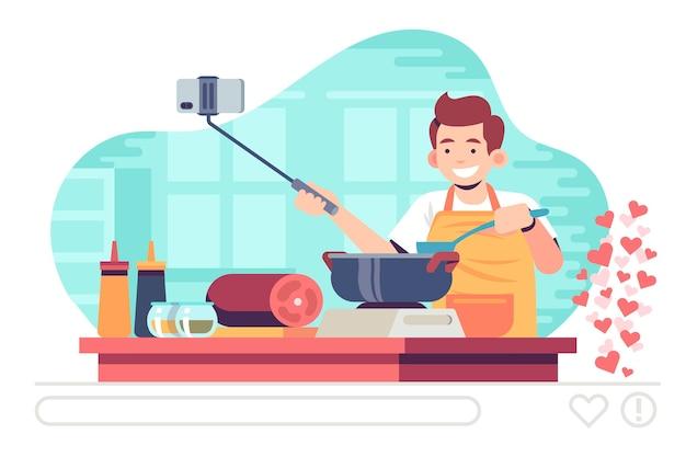 Transmitindo evento ao vivo com homem cozinhando