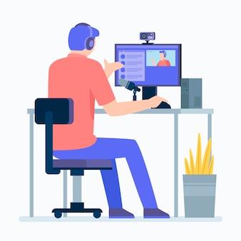 Transmitindo evento ao vivo com homem e computador
