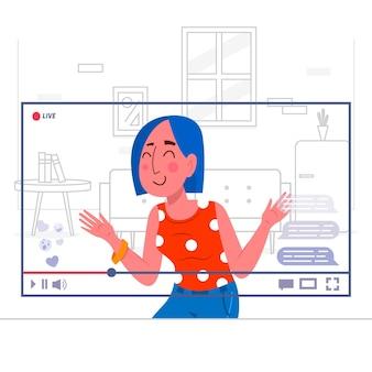 Transmitindo evento ao vivo com mulher em vídeo