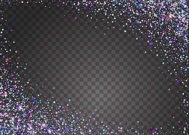 Transparent confetti. folha de fantasia. neon tinsel. decoração abstrata do disco. efeito laser violeta. arte brilhante. fundo do holograma. metal prism. confete transparente roxo