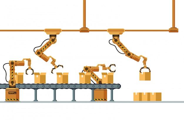 Transportador de embalagem automática garra robótica marrom