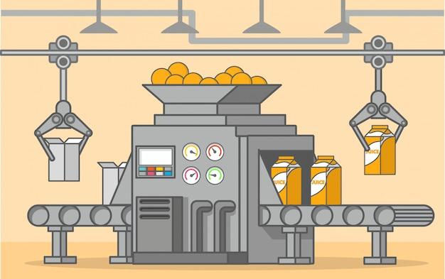 Transportador de fábrica, derramando suco de laranja em caixas de papelão.