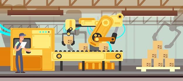 Transportador de fábrica industrial com processo de embalagem de produção