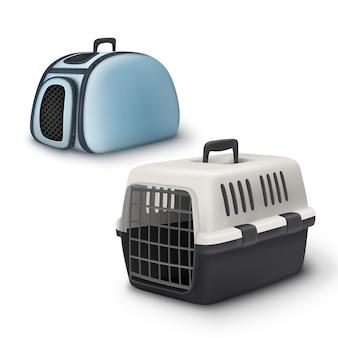 Transportadora de dois animais de estimação de vetor e bolsa isolada no fundo branco