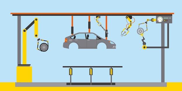 Transportadora de produção de carroceria de carro indústria automotiva mãos robóticas