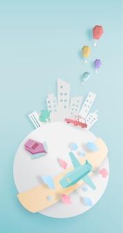 Transporte ao redor do mundo com estilo de arte de papel de cidade